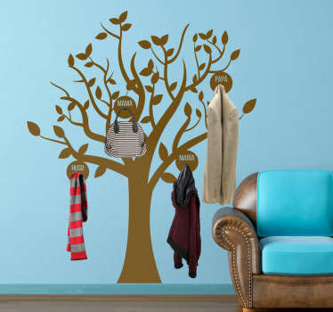 Family coat hanger wall sticker designed with a tree plant. It is customisable with names so everyone in the home can have their space to hang coat.
