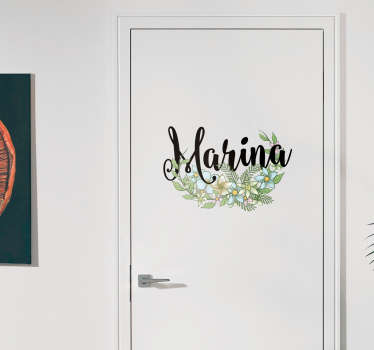 Autocolante para porta personalizado floral