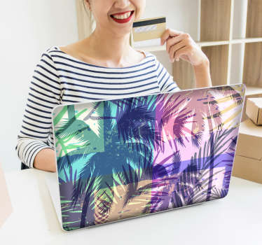Many memories are saved on the laptop. This laptop sticker is perfect for expressing the feeling of summer with its colourful palm tree design.