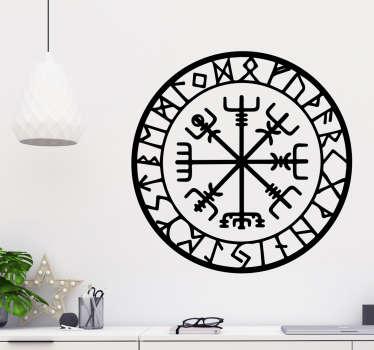 Muursticker viking kompas