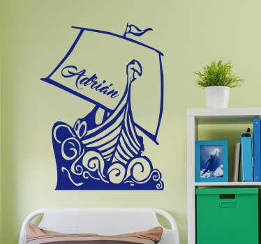 Muursticker vikingboot personaliseerbaar