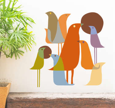 Muursticker vogels minimalistisch
