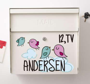 Fugle postkasse sticker