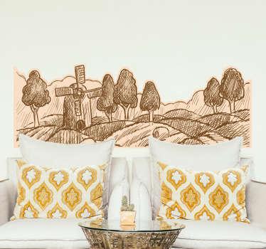Adesivo de parede paisagem rústica