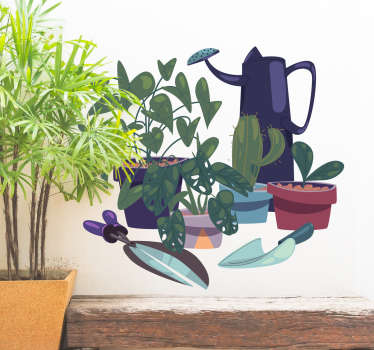 Home wall sticker with the design of garden plants and gardening tools.It is available in any size required and it is self adhesive.