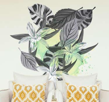 Adesivo decorativo piante nero e grigio