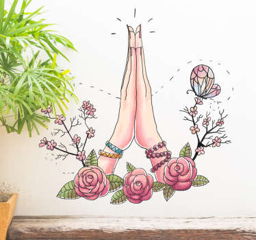 Flower wall art decal with a namaste greeting hands to decorate any space of desire. It size is customisable to any dimension needed.