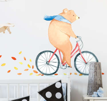 Children wall art sticker designed with a bear riding on a bicycle in autumn.It is a really pretty design to active a happy and fun Autumn atmosphere.