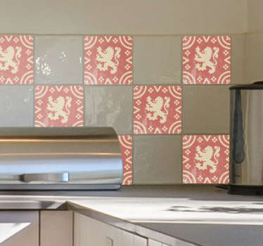 Flemish lion wall border sticker to decorate a kitchen or bathroom space in a wild life style.It is easy to place and you can choose the size needed.