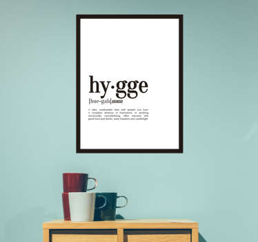 Hygge definition home text wall sticker to decorate any space of interest. It size is customisable to any dimension needed.