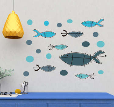 Marine wall sticker with the design of different prints of fish. It is available in different size options and it is self adhesive.