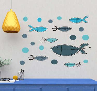 Adesivo murale camera da letto pesci