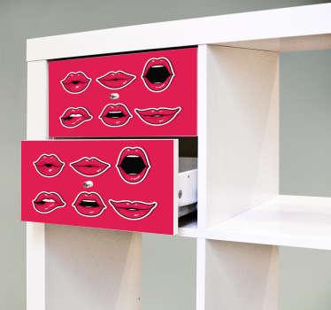 Roze sticker lips muursticker