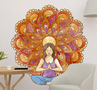 Sicker mural yoga dessin