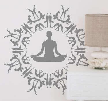 Muursticker yoga figuren cirkel