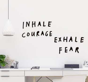 Mod og frygt tekst sticker