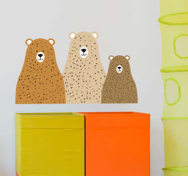 Sticker cameretta tre teneri orsetti