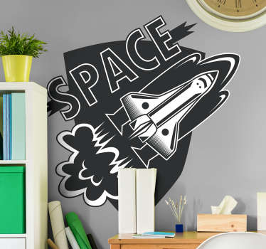 "Give your future astronauts this science vinyl sticker with an image of a spaceship taking off with the word ""Space"". Discounts available."