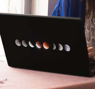 Bring your laptop to life with this laptop sticker illustrating the various phases of the moon, including its eclipse. +10,000 satisfied customers.