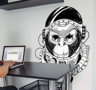 This science wall sticker of a monkey dressed as an astronaut in black and white colors is perfect to decor teens bedrooms.