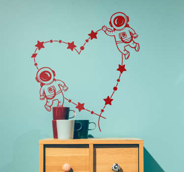 Astronaut love wall sticker with the design  feature of astronaut images on a heart shape. The colour and size is customisable in available options.