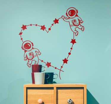 Sticker coeur astronaute