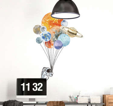 Home wall sticker designed created with colorful balloons. An amazing decoration for a living room and bedroom space. It is available in any size.
