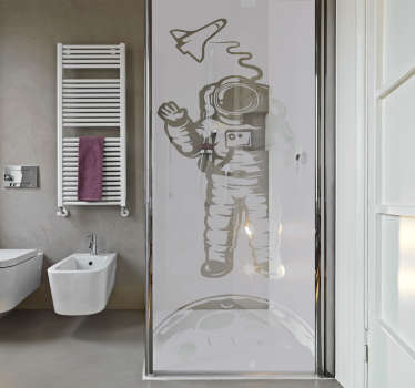 Douchewand sticker astronaut