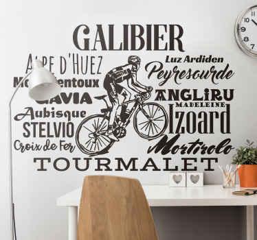 Vous êtes un fan de cyclisme? Cet autocollant vélo représentant les sommets les plus connus est fait pour vous.