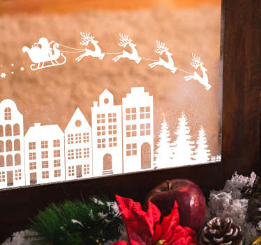 Take a look at our Christmas window sticker that has reindeers and Santa Claus on it. The product is extremely long-lasting material.
