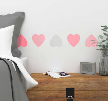 Vinyl sticker strip with a series of hearts in pastel colors perfect for an original bedroom decoration or for a Valentine's Day showcase!