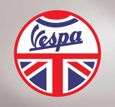 Pegatinas moto de una de las marcas de motocicleta más famosas, enmarcada dentro de una redonda con la bandera británica.