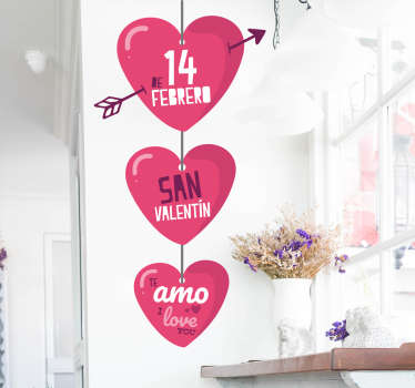 Come check out our Valentines Day heart-themed wall sticker that you can customize to fit your walls. The product leaves zero residues upon removal.