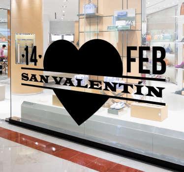 Vinilos San Valentín para decoración de tiendas este próximo 14 de febrero, el día de los enamorados.