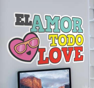 """Pegatinas divertidas con un juego de palabras en inglés """"el amor todo love (lo ve)"""" acompañado de un emoticono de un corazón con gafas."""