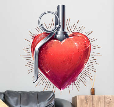 Original love decal with a striking design of a grenade shaped heart ready to explode with all its love. Perfect wall decal for your bedroom!