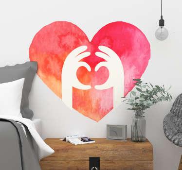 Adesivo cuore per San Valentino mani acquarello