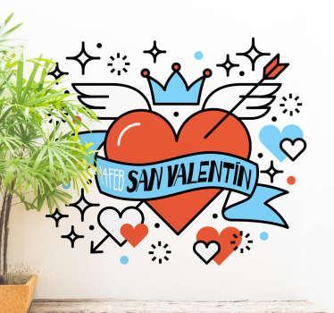Decoración para San Valentín, vinilo para tiendas que deseen promocionar el próximo día de los enamorados.