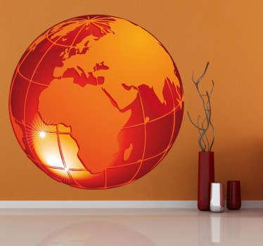 Autocollant planète terre orange