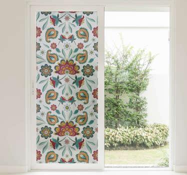 Autocolante decorativo janela floral