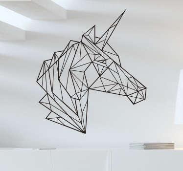 Vinilos origami cabeza de unicornio