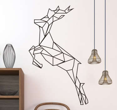Fantastic decorative vinyl that presents a jumping deer in a geometrical style. An aesthetic and modern wall sticker for bedroom!