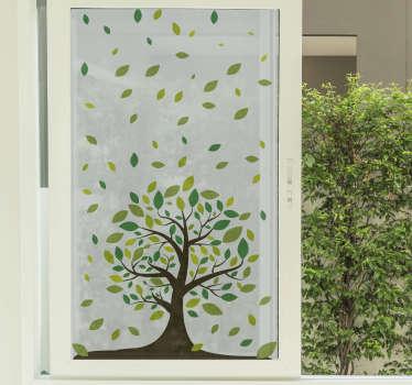 Vinilos para cristales con el dibujo de un árbol en la base y hojas verdes en la parte superior para decorar las ventanas de cualquier estancia.