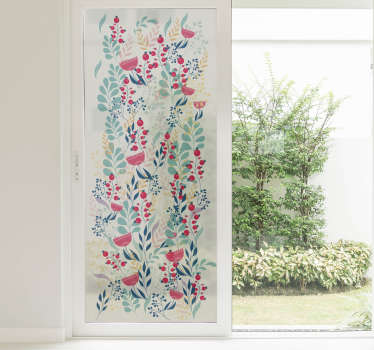 An adhesive decorative flower window sticker with multi colours flower design. It is customisable in any size required and it is self adhesive.