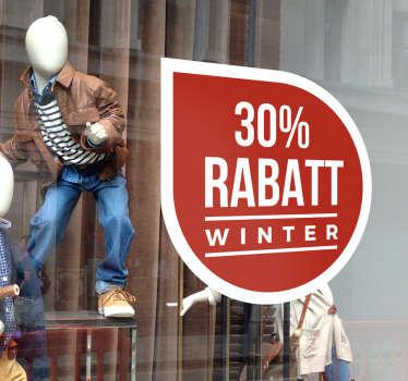 Schaufensteraufkleber für Winter oder Weihnachtsrabatt! Schmückt Ihr Schaufenster mit praktischem Nutzen.