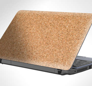 Portable decorative cork laptop sticker. The design is created with the texture of a cork stopper and the size is available in any requirement.