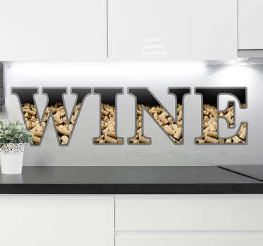 Muursticker kurken wine