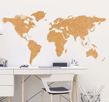 Vinyl world map wall sticker in the style of a cork pattern, perfect for decorating the bedroom or living room! Sign up for 10% off.