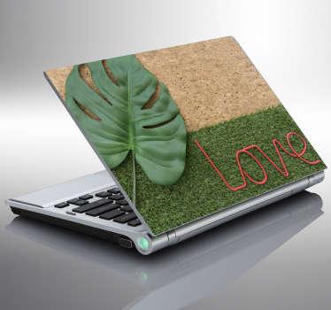 Laptopaufkleber Kork mit Blatt