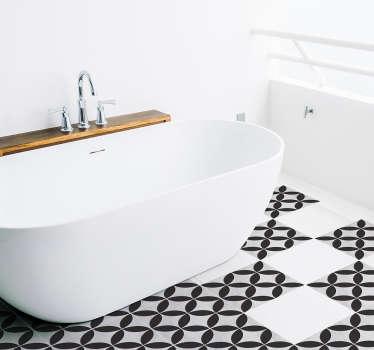 装饰浴室地板砖与花朵图案设计。易于应用和维护。选择最合适的尺寸。